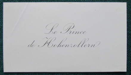 German Royal Prince Leopold of Hohenzollern Antique Calling Card
